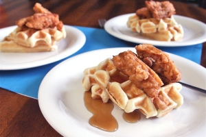 chicken dinner recipe - chicken and waffles