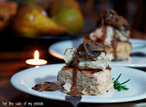 Chicken Meatloaf with Mashed Potatoes and Mushroom Sauce