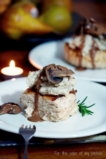 Chicken Meatloaf with Potatoes and Mushroom Sauce