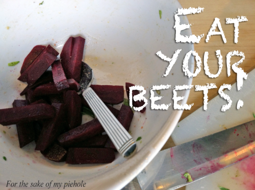 beets sliced and ready to roast